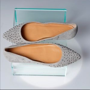 J Crew pewter studded suede flats. Size 8.